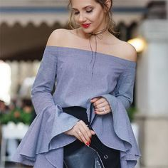 off the shoulder tops shirts blouse ruffle flare sleeve women 2017 spring cotton poplin blue striped blouse high quality Corsage, Tops Vintage, Stripes Fashion, Blouse Designs, Blouses For Women, Bell Sleeves, Flare, T Shirt, Clothes