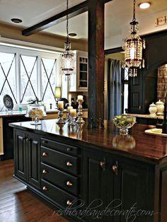 DIY painted cabinets and wood beams!