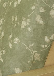 Features Gentle Sakura Leaf Branches In Patina On Brush Stroked Sage Green Background