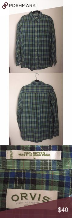 Orvis Men's Checkered Shirt Orvis Men's Checkered Shirt; Size Large; Very Comfortable material; would look great with jeans and boots for any outdoorsman! Orvis Shirts Casual Button Down Shirts