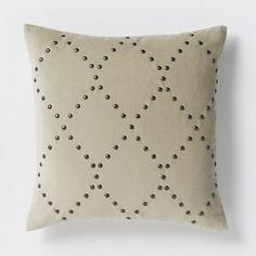 Studded Velvet Ogee Pillow Cover - Putty