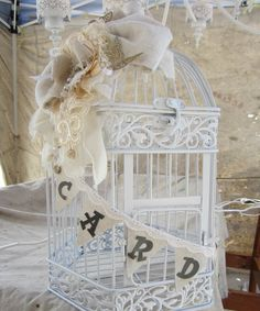 Shabby Chic Vintage Inspired Wedding Card Holder Bird Cage.