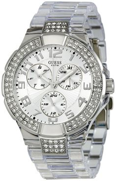 Women's watches: Shop to buy GUESS Women's Prism Multifunction Watch Casual Watches, Stainless Steel Watch, Rolex Watches, Wrist Watches, Michael Kors Watch, Chronograph, Quartz, Crystals, Stuff To Buy
