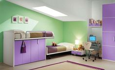 Kids bedroom fresh color with green and purple furniture room