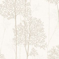 Graham & Brown Innocence Cream/Gold Vinyl Textured Floral Wallpaper