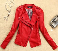 Red Leather Coat Motorcycle Leather Jacket For Women-FREE SHIPPING | sariasknitncrochet - Clothing on ArtFire