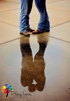 country engagement, puddle, water, boots, rustic, wedding, save the date, reflection, photography