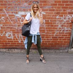 Cargos + heels + basic T