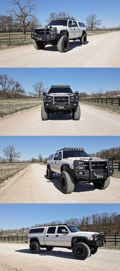 http://www.pirate4x4.com/forum/chevy/2379705-multipurpose-duramax-build.html 2007 Chevy 2500, '09 Ford Dana 60, roughly 4 inches of total lift, 40x15.50r20 Toyo MT's, custom front bumper