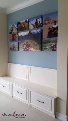 This empty wall space was converted into a mudroom and bench, with custom pull out drawers for storing valuable equipment and shoes.  Designed by designer Jeanne Hessen  Learn more here: https://www.closetfactory.com/mudrooms/