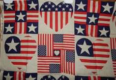 cotton quilt fabric stars 4th of July military Americana patriotic 2/3 yd flag #FabricTraditions