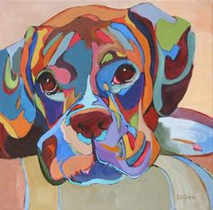 Daily Painting, All Played Out, contemporary abstracted dog painting, painting by artist Carolee Clark
