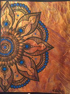 Blue Henna Mandala/tribal/abstract/metallic gold art
