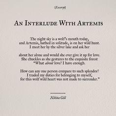 An Interlude with Artemis // Nikita Gill