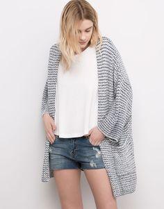Pull&Bear - mujer - jerseys y chaquetas - chaqueta kimono estructura bicolor - marino - 05580320-V2016