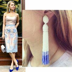 Long beaded tassel earrings Oscar de la Renta by amoremiojewelryua