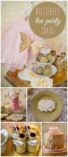 A shabby chic butterfly kisses themed fantasy tea party with a gold ombre butterfly cake! See more party planning ideas at CatchMyParty.com!