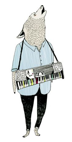 keyboard wolf tattoo by julia pott, available on etsy - keyboard wolf tattoo by julia pott, available on etsy - Animal Drawings, Art Drawings, Children's Book Illustration, Illustration Styles, Drawing Sketches, Collages, Comic Art, Character Design, Artwork