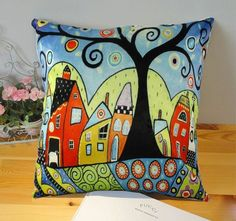 Sheep in Barn VELVET PILLOW COVER Folk Art Abstract VARIOUS SIZES KARLA GERARD #KARLAGERARD