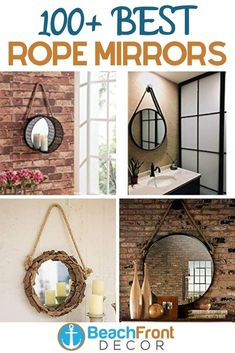 Best Rope Mirrors and Nautical Wall Decor! Discover the top-rated nautical themed rope wall decorations and rope themed mirrors. Round Mirror With Rope, Rope Mirror, Round Wall Mirror, Nautical Wall Decor, Beach Wall Decor, Coastal Wall Art, Living Room Art, Home Art, Mirrors