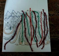 Preschool Storytime Crafts: Wooly Mammoth - Glue yarn to a coloring page of a wooly mammoth