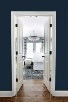 Dramatic entrance to a Blue & White bedroom makeover by the Hunted Interior Blue Rooms, Doors Interior, Hunted Interior, Bedroom Decor, Home, Interior, Bedroom Inspirations, Bedroom Design, Home Decor