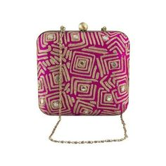 The Purple Sack Box Clutch Indian Wedding Bridal Purse Pink Beaded... ($83) ❤ liked on Polyvore featuring bags, handbags, clutches, handbags clutches, pink purse, purple purse, purple clutches and man bag