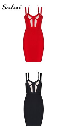 Salen 2017 New Black Red Backless Mesh Spaghetti Bandage Dress Women Sexy  Sleeveless Patchwork Party Dresses 9d3ddb64a103