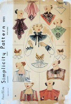 Simplicity Number 1951 top right image. Vintage Dress Patterns, Clothing Patterns, Sewing Collars, Vintage Outfits, Vintage Fashion, Retro Mode, Moda Vintage, Collar Pattern, Pattern Drafting