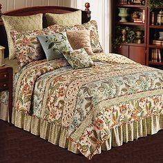 Bring a sense of calm and relaxation to your bedroom with the lovely Louise Reversible Quilt. Adorned with an array of patchwork floral patterns in soothing red, blue, green and tan hues, the delicate quilt adds a quaint and cozy look to any room. King Size Quilt, Queen Quilt, Quilt Bedding, Bedding Shop, Ruffle Quilt, European Pillows, Queen Comforter Sets, Bed Spreads, Bedroom Decor