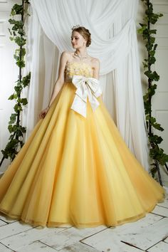 Yellow Empire Waist Silhouette Bridal Ball Gown