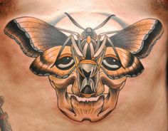 tattoo by bjorn liebner  ink, moth, skull, colour, color