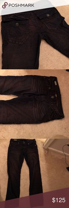 True Religion Pants Blue with a purple hue, they are not jeans but they are not corduroys they are somewhere in the middle. I got them new and wore them once, just not my style. True Religion Pants
