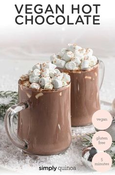 This is the BEST Vegan Hot Chocolate recipe ever! Creamy, perfectly sweet and easy to make. Made with almond milk, cacao powder, coconut butter and sweetened only with monk fruit extract. This hot chocolate recipe is simple to make and perfect for a cozy winter day! Almond Milk Hot Chocolate Recipe, Dairy Free Hot Chocolate, Hot Chocolate Recipes, Cocoa Cinnamon, Cacao Powder, Butter Recipe, Unsweetened Cocoa, Almond Recipes, Vegan Gluten Free