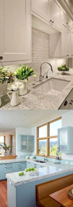 Like this look for cabinets around window and over the sink