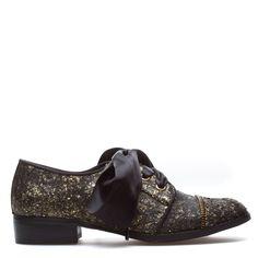 Black/gold glitter oxfords with ribbon laces and zipper toe seam
