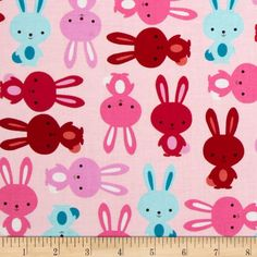 Urban Zoologie Bunnies Blush from @fabricdotcom  Designed by Anne Kelle for Kaufman Fabrics, this cotton print is perfect for quilting and craft projects as well as apparel and home décor accents. Colors include white, black, aqua, pink and red.