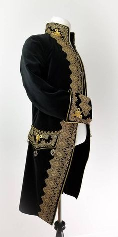 Steampunk Men, 18th Century Clothing, Frock Coat, Period Outfit, Antique Clothing, Neck Piece, Gold Lace, Historical Costume, Ball Dresses