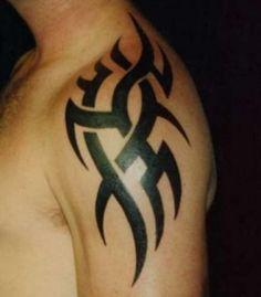 Nice Simple Tribal Shoulder Tattoo Design