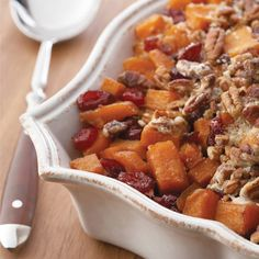 Roasted Sweet Potatoes with Cinnamon Pecan Crunch Recipe A pecan-pie-inspired topping brings a festive twist to classic sweet potatoes. Thanksgiving Side Dishes, Thanksgiving Recipes, Holiday Recipes, Christmas Recipes, Thanksgiving Holiday, Sweet Potato Pecan, Sweet Potato Casserole, Broccoli Casserole, Potato Dishes
