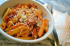 Vodka Penne Pasta: This easy dinner is a favorite meatless meal. Creamy pasta with just a little kick!