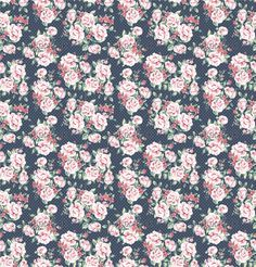 Seamless wallpaper vintage flower pattern on dot background  - sample image
