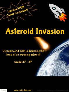 Asteroid Invasion! Real World Math with STEM Career Connection. Real world math activity to determine the threat of an impeding asteroid! Includes a STEM career connection to bring math to life! This 20-30 minute activity allows students to evaluate and apply an algebraic equation to determine the threat of an impeding asteroid. Common Core aligned! $