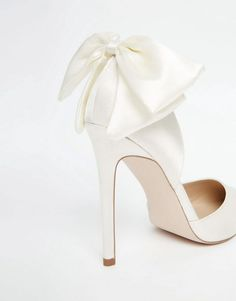 Image 3 of ASOS PHOENIX Bridal Pointed Bow Detail High Heels