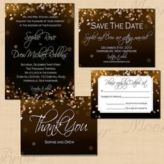 Champagne Bubbles Editable Save the Date, Invitation, RSVP, and Thank You Package - Instant Download on Etsy, $40.00