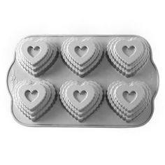 Molde 6 cavidades Tiered Heart Nordic Ware
