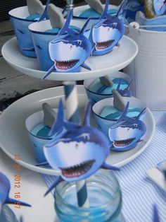 """Cute cupcake papers. Site has good ideas  Photo 10 of 50: Sharks / Birthday """"Shark party"""" 