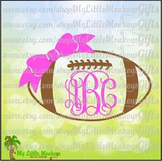 Football with Bow Monogram Frame Base Design Digital Cut File Clipart Instant Download Full Color 300 dpi Jpeg Png SVG EPS DXF formats - pinned by pin4etsy.com