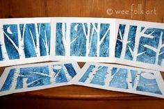 art projects for kids birch trees at night, tape, blue watercolor paint, very easy and beautiful ...