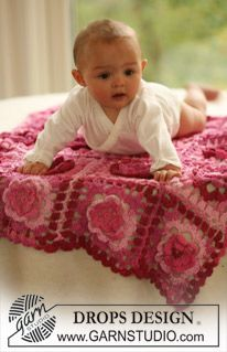 "Crochet DROPS baby blanket in ""Muskat Soft"". ~ DROPS Design"